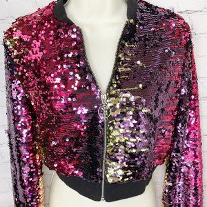 FABULOUS COLORFUL SEQUIN BOMBER JACKET - FOREVER 21 - PINK PURPLE GOLD!